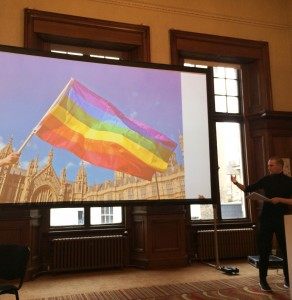 Konstantin Zhukov delivering his presentation: 'HOMOerotic?'