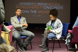 "Q&A chaired by AGRUPA student Tiffany Webster with filmmaker Fred Kuwornu after the screening of ""BLAXPLOITALIAN: 100 years of Blackness in the Italian Cinema"