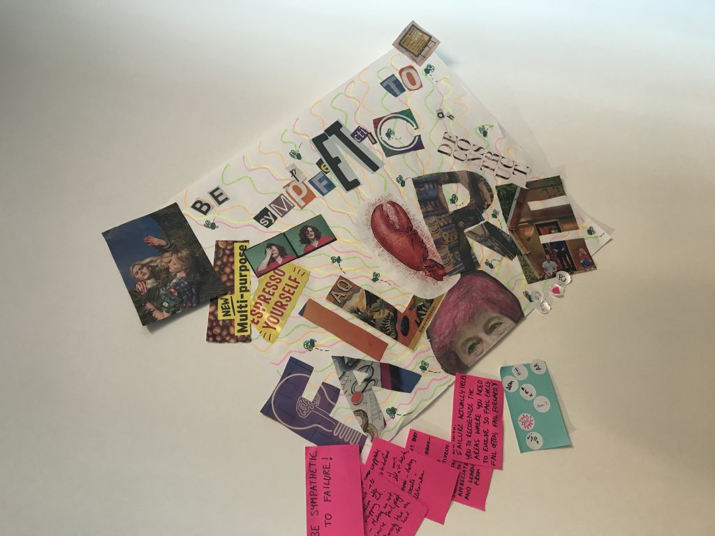 One of the mood boards presented. This one is about failure and has a variety of cut out photos and letters from magazines. The letters spell out the word 'failure' and there are also post-its detailing the idea.