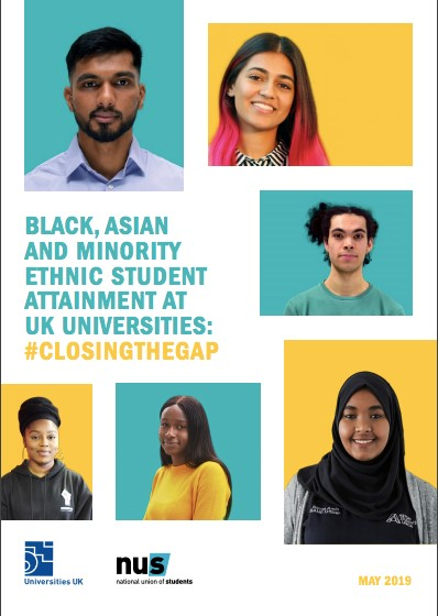 "Report cover including headshots and text ""BAME student attainment at UK universities"""