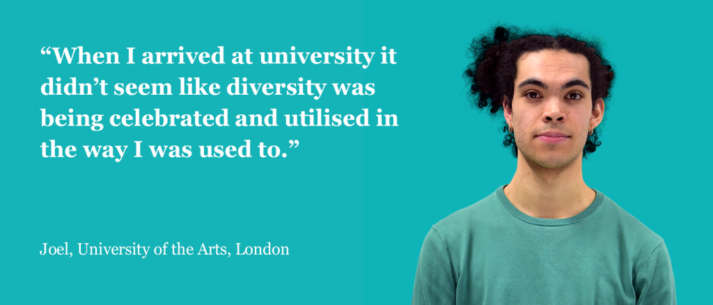 """Headshot of Joel Simpson """"When I arrived at University it didn;'t seem like diversity was being celebrated and utilised in the way I was used to."""""""