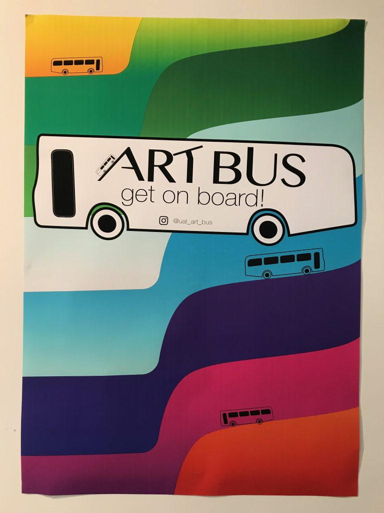 The Art Bus poster, with a rainbow background and a bus outline.