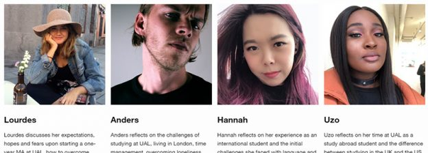 Screenshot of 4 profile pictures of students on the UAL Voices website