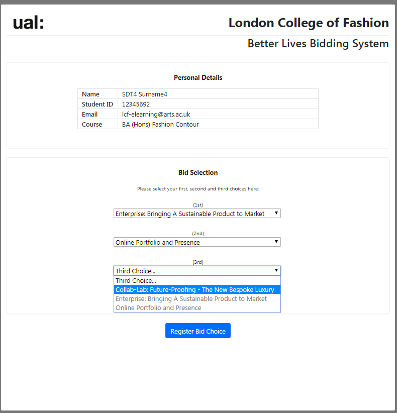 an example bid provided by Web Services