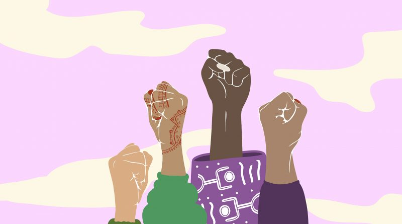 Illustration of womens' fists punching the air