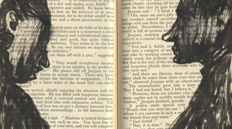 Artwork: Two heads in profile painted to face each other across a double page spread of a text book