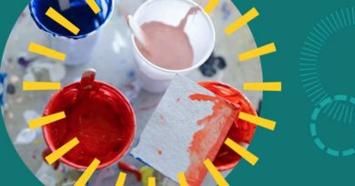 Cups of paint with decorative radials.