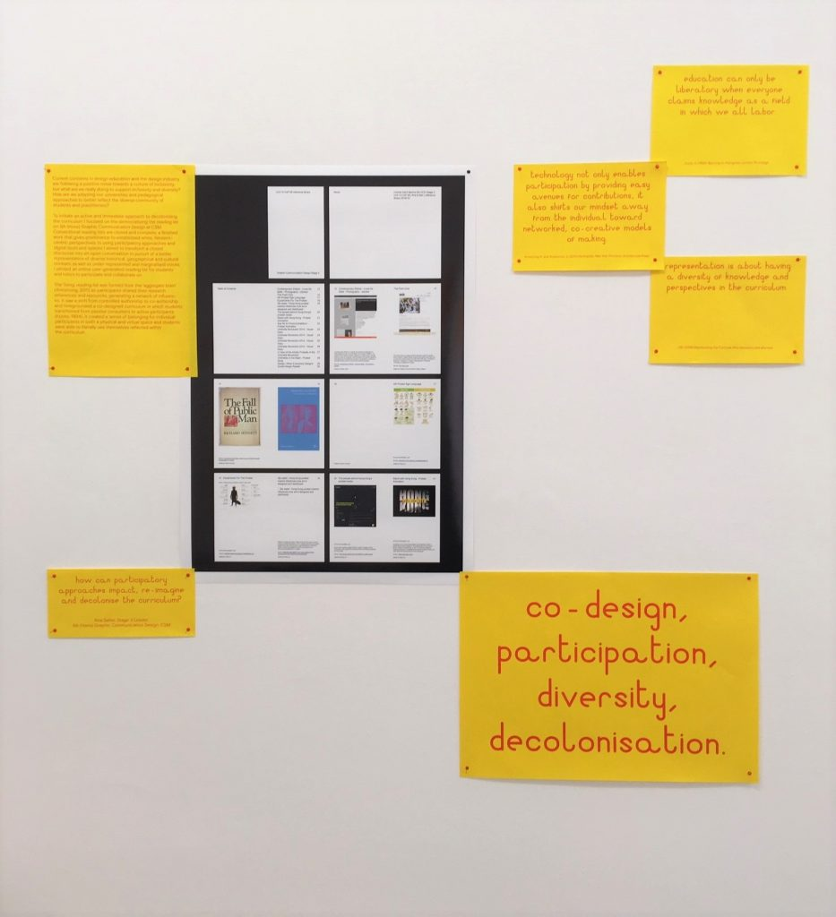 installation view: One photo and six pieces of text displayed on the wall about Kira's research