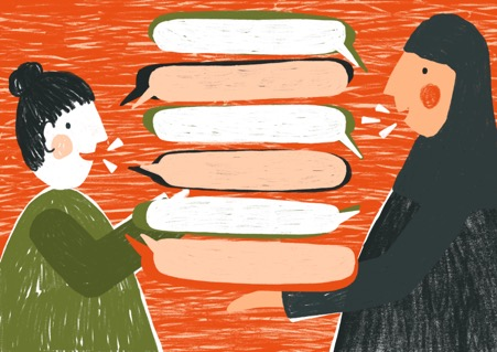 Illustration of two women, one in a headscarf, talking with many blank speech bubbles between them in the air