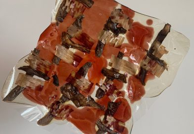 A square piece of material with red toned objects embedded geometrically in a transparent gel