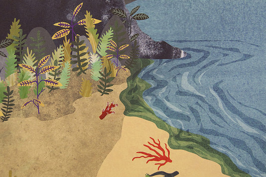 Painting of a beach with sand and seaweed on the left. On the right is a calm blue sea with a few rippled waves.
