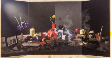 photo of objects on a table against a dark background