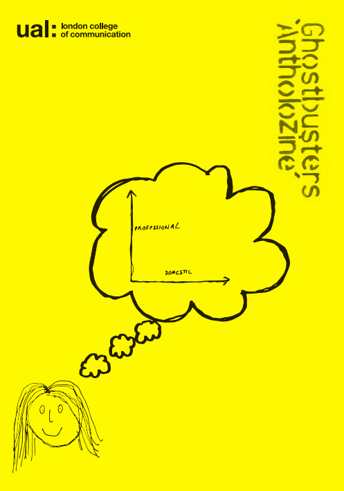 Front cover of the Ghostbusters Antholozine. It is sunshine yellow with bottom left a scrappy line drawing of a head with a thought bubble above and a line graph within that bubble.  The College logo is top left and the zine title is stencilled top right.