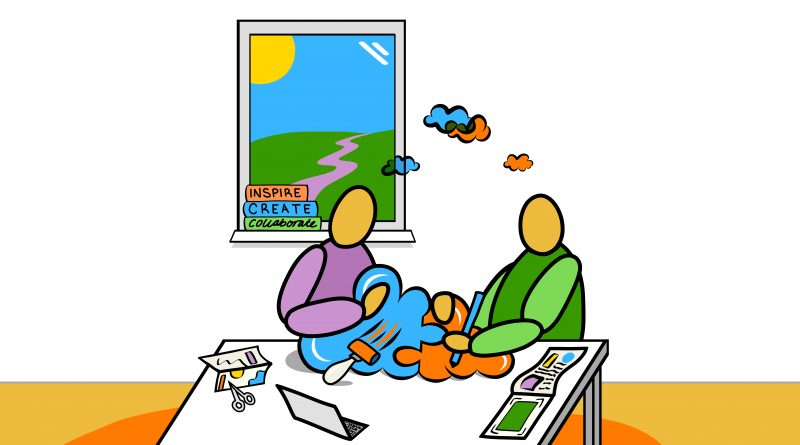 cartoon of two figures working together at a table, moulding blue and orange clouds together. Books on the shelf behind them read inspire, create, collaborate.