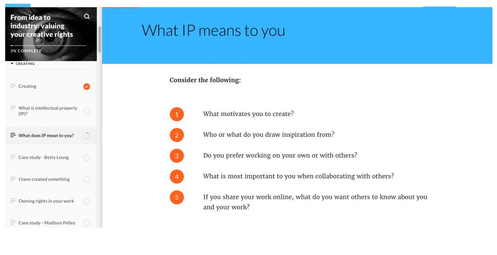 Screen shot of the module titled: What IP means to you