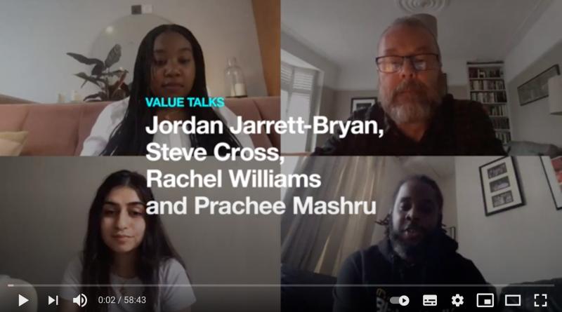 zoom screenshot showing 4 UAL student participants. Their names are written in large white font across the screenshot: Jordan Jarrett-Bryan, Steve Cross, Rachel Williams, Prachee Manshru