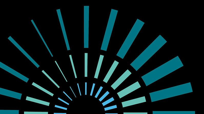 Green and blue dashes radiating out in 3 semicricles on a black background