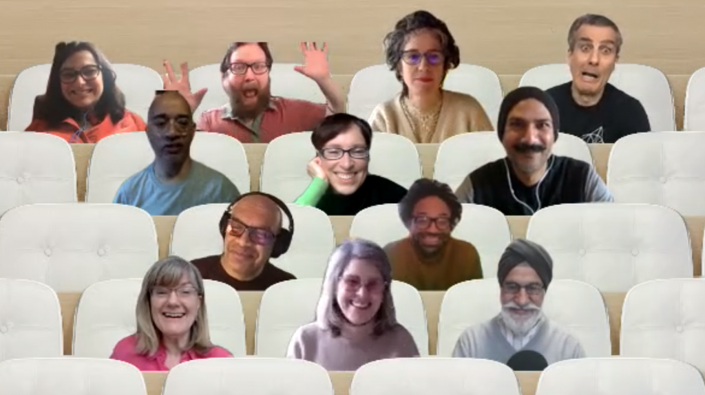Photographs of UAL staff and guests sitting in a virtual, on-screen auditorium of plush white seats